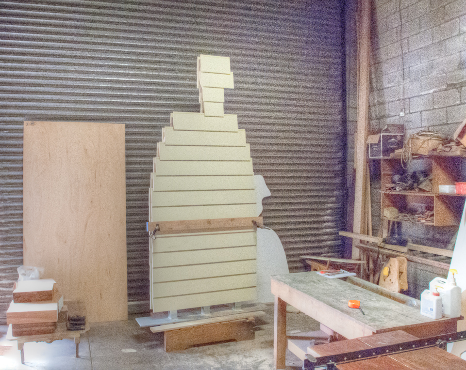 Weatherboard sculpture (under construction).